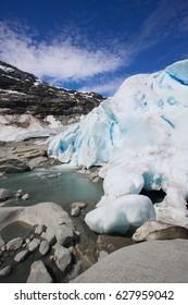 Nigardsbreen glacier in Jostedalsbreen national park near village of Gaupne in the Jostedalen valley, Luster, Sogn og Fjordane county, Norway