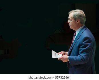 Nigel Farage giving a speech in Stoke-on-Trent, United Kingdom, April 2016