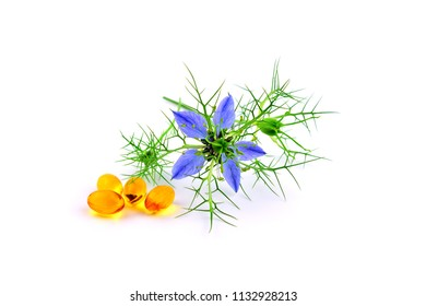 Nigella Sativa and Black Cumin Oil Capsules. Also Black Caraway, Kalonji or Calonji. Isolated on White Background.