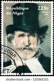 NIGER - CIRCA 1998: A postage stamp printed by Niger shows image portrait of famous romantic Italian composer Giuseppe Verdi (1813-1901), circa 1998.