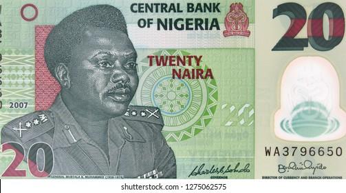 Nigeria 20 naira banknote. Nigerian money currency close up. Africa economy.