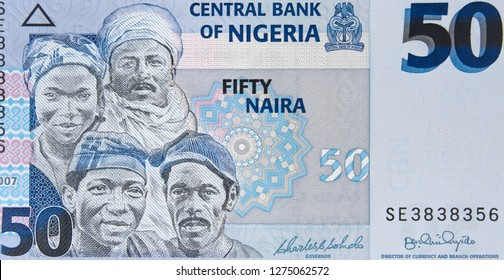 Nigeria 50 naira banknote, Central Bank of Nigeria. Nigerian money currency close up