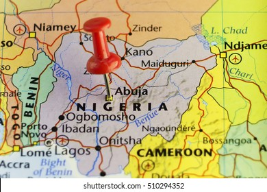 Nigeria capitol Abuja pinned map. Copy Space available.