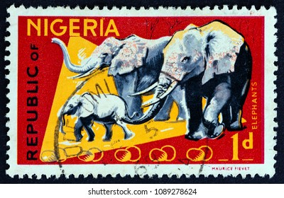NIGERIA - CIRCA 1965: A stamp printed in Nigeria shows African Elephants, circa 1965.