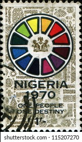 "NIGERIA - CIRCA 1970: A stamp printed in Nigeria honoring End of Civil War, shows Symbolic wheel and motto ""one people, one destiny"", circa 1970"