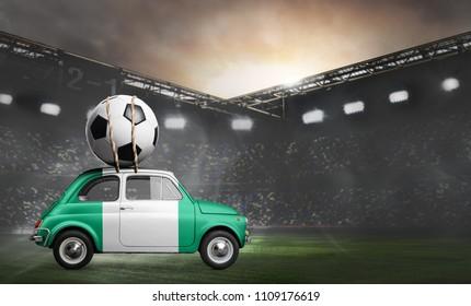Nigeria flag on car delivering soccer or football ball at stadium