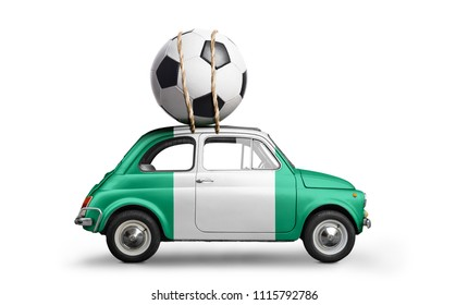 Nigeria flag on car delivering soccer or football ball isolated on white background
