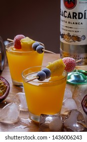 Nigeria Lagos 27.062019 Tropical Fruit Cocktail with Bacardi Rum