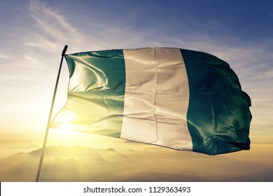Nigeria national flag textile cloth fabric waving on the top