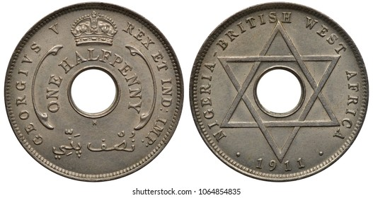 Nigeria Nigerian British West Africa coin 1/2 halfpenny 1911, first year of issue under name of King George V, value in words around center hole, crown above, six pointed star, date below,