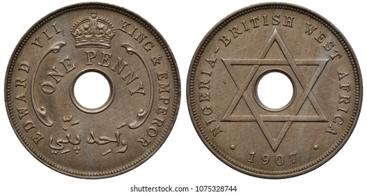 Nigeria Nigerian British West Africa coin 1 one penny 1907, ruler King Edward VII, value in words around center hole, crown above, six pointed star, date below,