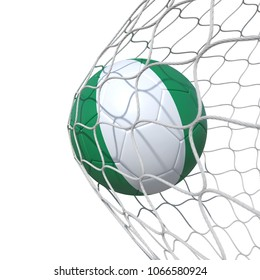 Nigeria Nigerian flag soccer ball inside the net, in a net. Isolated on white background. 3D Rendering, Illustration.