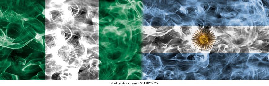Nigeria vs Argentina smoke flag