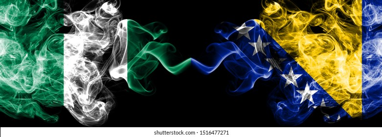 Nigeria vs Bosnia and Herzegovina, Bosnian abstract smoky mystic flags placed side by side. Thick colored silky smoke flags of Nigerian and Bosnia and Herzegovina, Bosnian