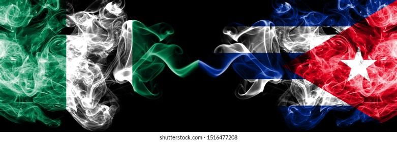 Nigeria vs Cuba, Cuban abstract smoky mystic flags placed side by side. Thick colored silky smoke flags of Nigerian and Cuba, Cuban