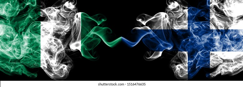Nigeria vs Finland, FInnish abstract smoky mystic flags placed side by side. Thick colored silky smoke flags of Nigerian and Finland, FInnish