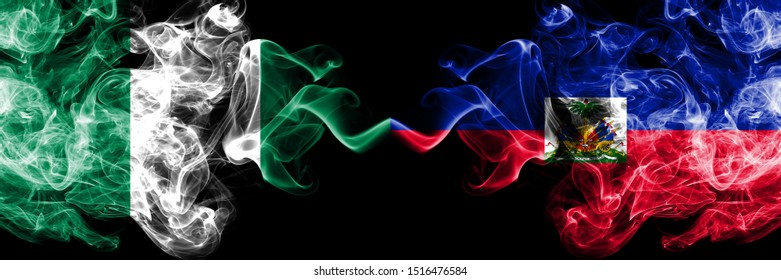 Nigeria vs Haiti, Haitian abstract smoky mystic flags placed side by side. Thick colored silky smoke flags of Nigerian and Haiti, Haitian