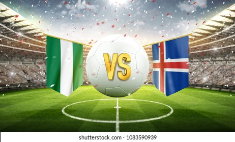 Nigeria vs Iceland. Soccer concept. White soccer ball with the flag in the stadium, 2018. 3d render