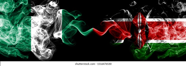 Nigeria vs Kenya, Kenyan abstract smoky mystic flags placed side by side. Thick colored silky smoke flags of Nigerian and Kenya, Kenyan