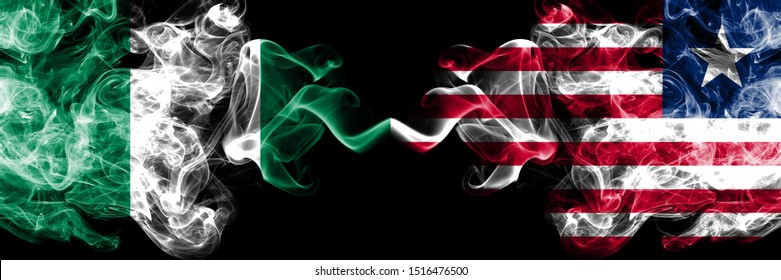 Nigeria vs Liberia, Liberian abstract smoky mystic flags placed side by side. Thick colored silky smoke flags of Nigerian and Liberia, Liberian