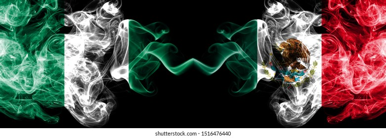 Nigeria vs Mexico, Mexican abstract smoky mystic flags placed side by side. Thick colored silky smoke flags of Nigerian and Mexico, Mexican