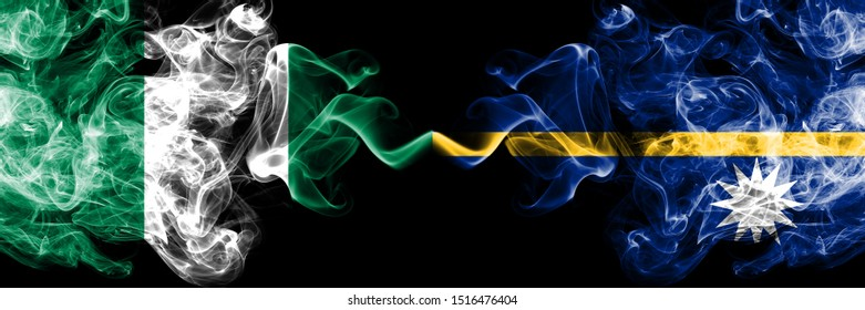 Nigeria vs Nauru abstract smoky mystic flags placed side by side. Thick colored silky smoke flags of Nigerian and Nauru