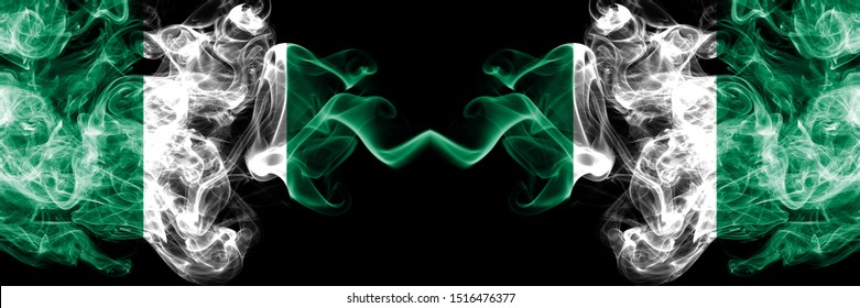 Nigeria vs Nigeria, Nigerian abstract smoky mystic flags placed side by side. Thick colored silky smoke flags of Nigerian and Nigeria, Nigerian