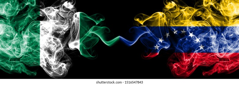 Nigeria vs Venezuela, Venezuelan abstract smoky mystic flags placed side by side. Thick colored silky smoke flags of Nigerian and Venezuela, Venezuelan