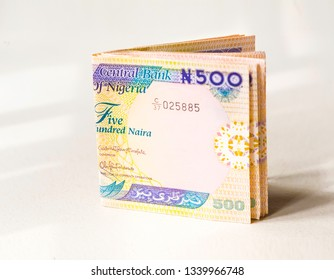 Nigerian Currency - A folded wad of 500 Naira notes