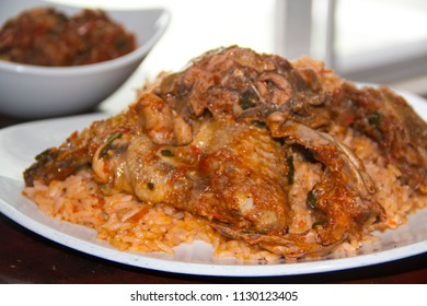 Nigerian food: A Plate of jollof rice and chicken