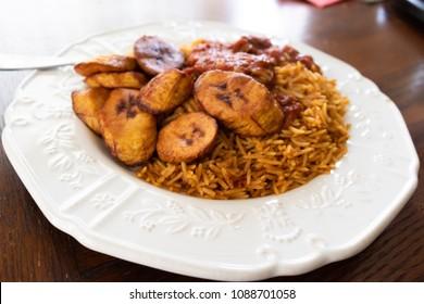 Nigerian Jollof Rice and Fried Plantain