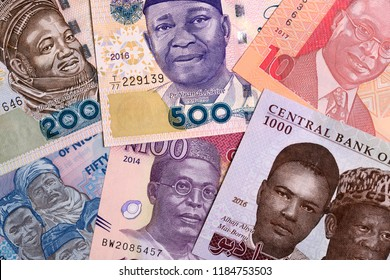 Nigerian Naira, a background with money from Nigeria