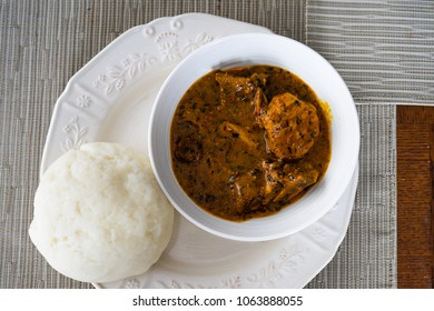 Nigerian Ogbono Soup Served with Pounded Yam