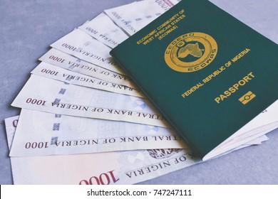 Nigerian Passport on Nigerian Naira