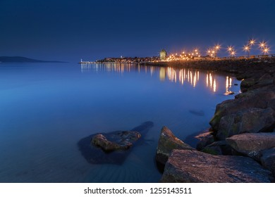 Nigh cityscape of old town of Nessebar