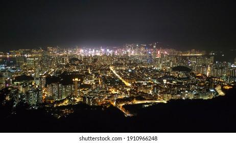 Nigh view from Hong Kong Lion Rock at the peak Hong Kong City view