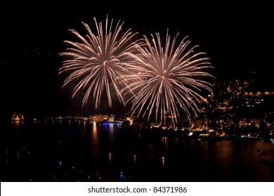 Nighlty fireworks show on the lake of Lugano
