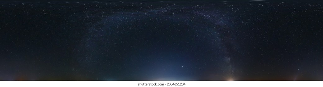 night 360 panorama with stars and milky way. Seamless panorama with zenith for use in 3d graphics or game development as sky dome or edit drone shot for sky replacement