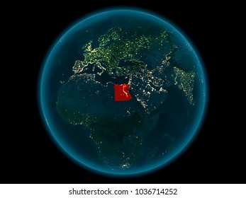 Night above Egypt highlighted in red on model of planet Earth in space. 3D illustration. Elements of this image furnished by NASA.