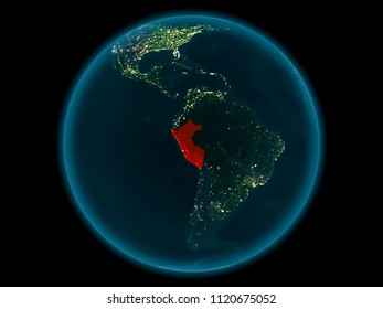Night above Peru highlighted in red on model of planet Earth in space. 3D illustration. Elements of this image furnished by NASA.