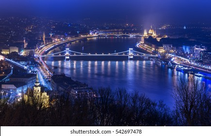 Night aerial panorama of Budapest, popular tourist destination in Europe, Hungary