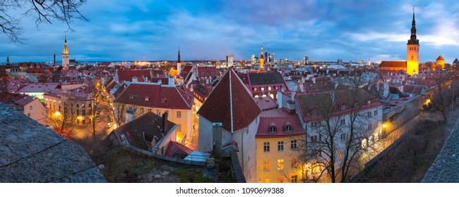 Night aerial panoramic cityscape with Medieval Old Town in Tallinn, Estonia