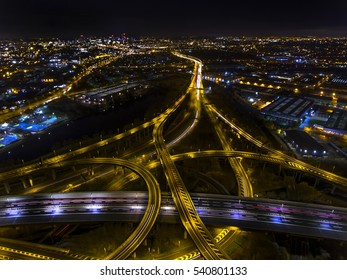 Night aerial shot of Spaghetti Junction in Birmingham,UK.