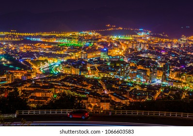 Night aerial view of Bilbao from Artxanda hill, Spain