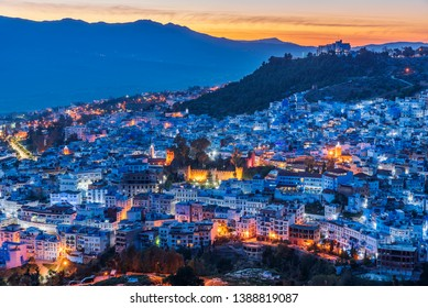 Night aerial view of Chefchaouen, the Blue city of Morocco