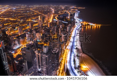 Night aerial view of Chicago from observation deck