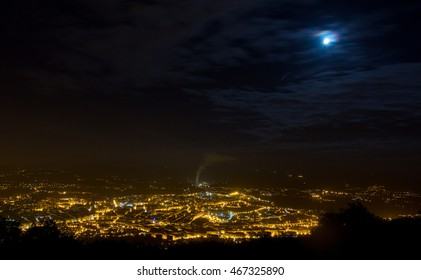 Night aerial view of the city of Oviedo, Spain