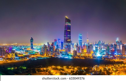 Night aerial view of the downtown Kuwait dominated by the liberation tower.