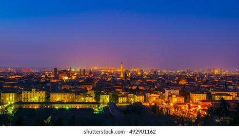 night aerial view of the italian city bologna