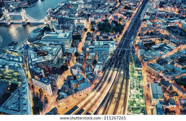 Night aerial view of London.